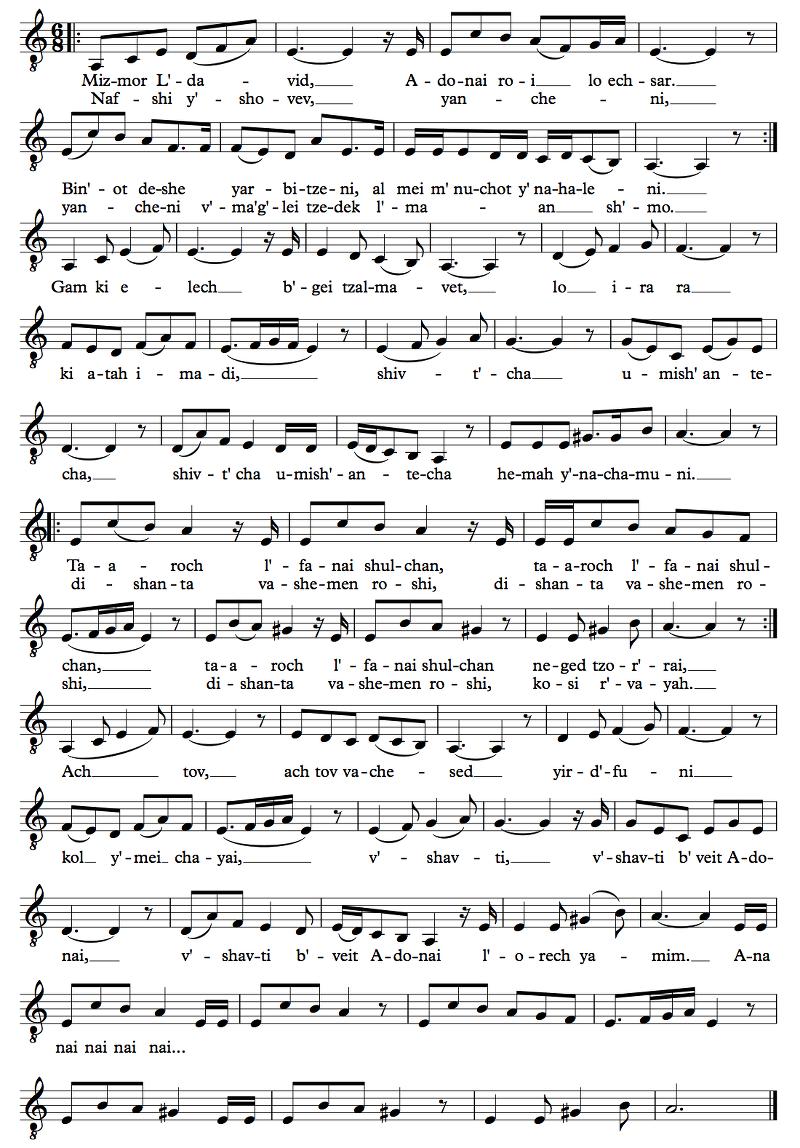 Sheet music for | Kiddush | Ps. 23, Mizmor L'david | Psalm